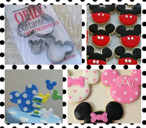 cortante mickey minnie set x3 tortas cookies cupcakes candy