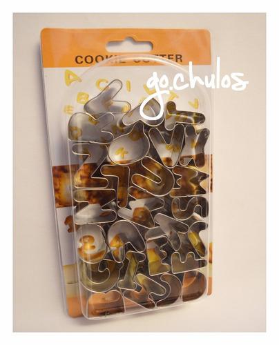 cortantes letras abecedario galletitas porcelana fría kawaii