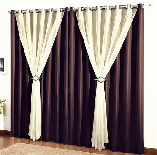 cortina 2 metros sala quarto 2,30 altura vison voil clássica