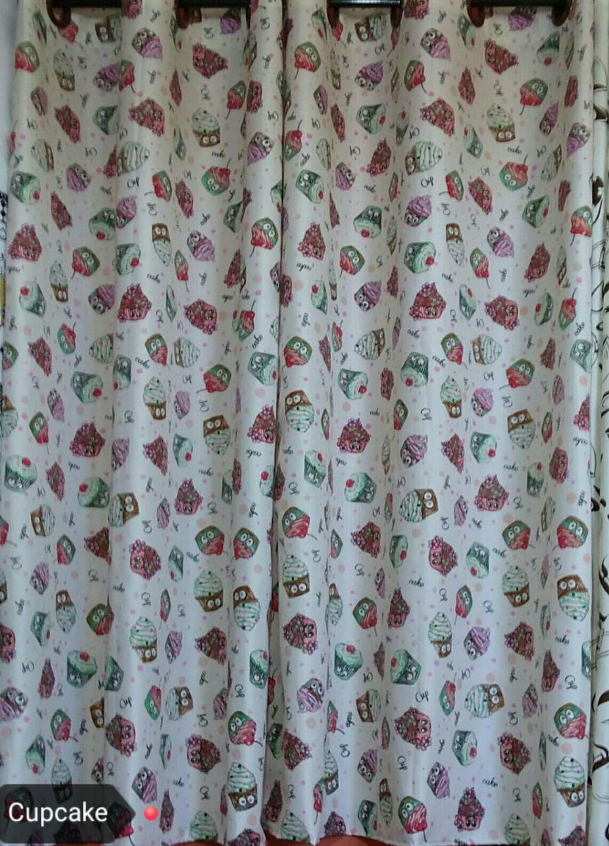 Cortina 2 Un Cozinha Com Ilh S Rosa 2 Mts Estampadas Cupcake R 83
