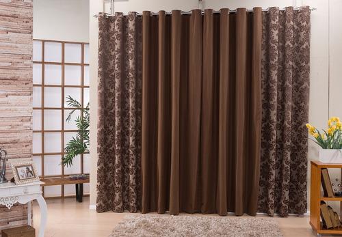 cortina 3 metros estampada tecido jacquard quarto e sala