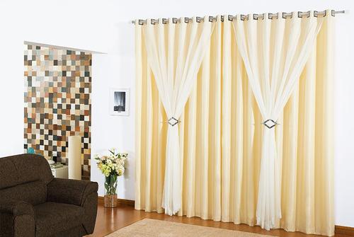 cortina 3 metros sala quarto 3,00x2,80 vison e voil ilhós