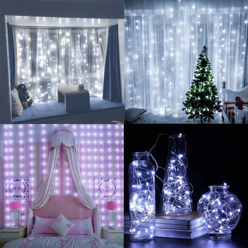 cortina 300 led luz fria 3x3 bodas navidad decoracion fiesta