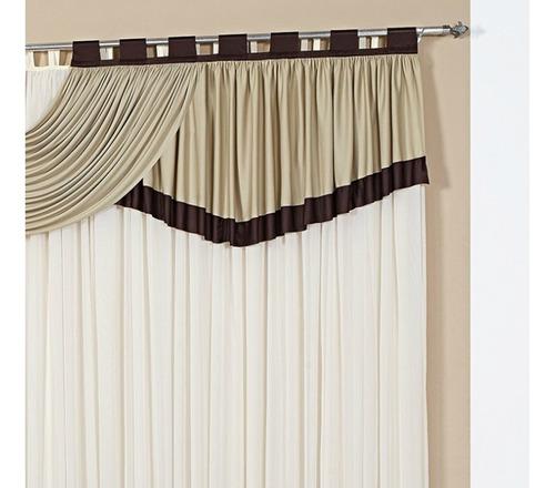 cortina 3,00m x 2,80m riviera para varão duplo - cor caqui