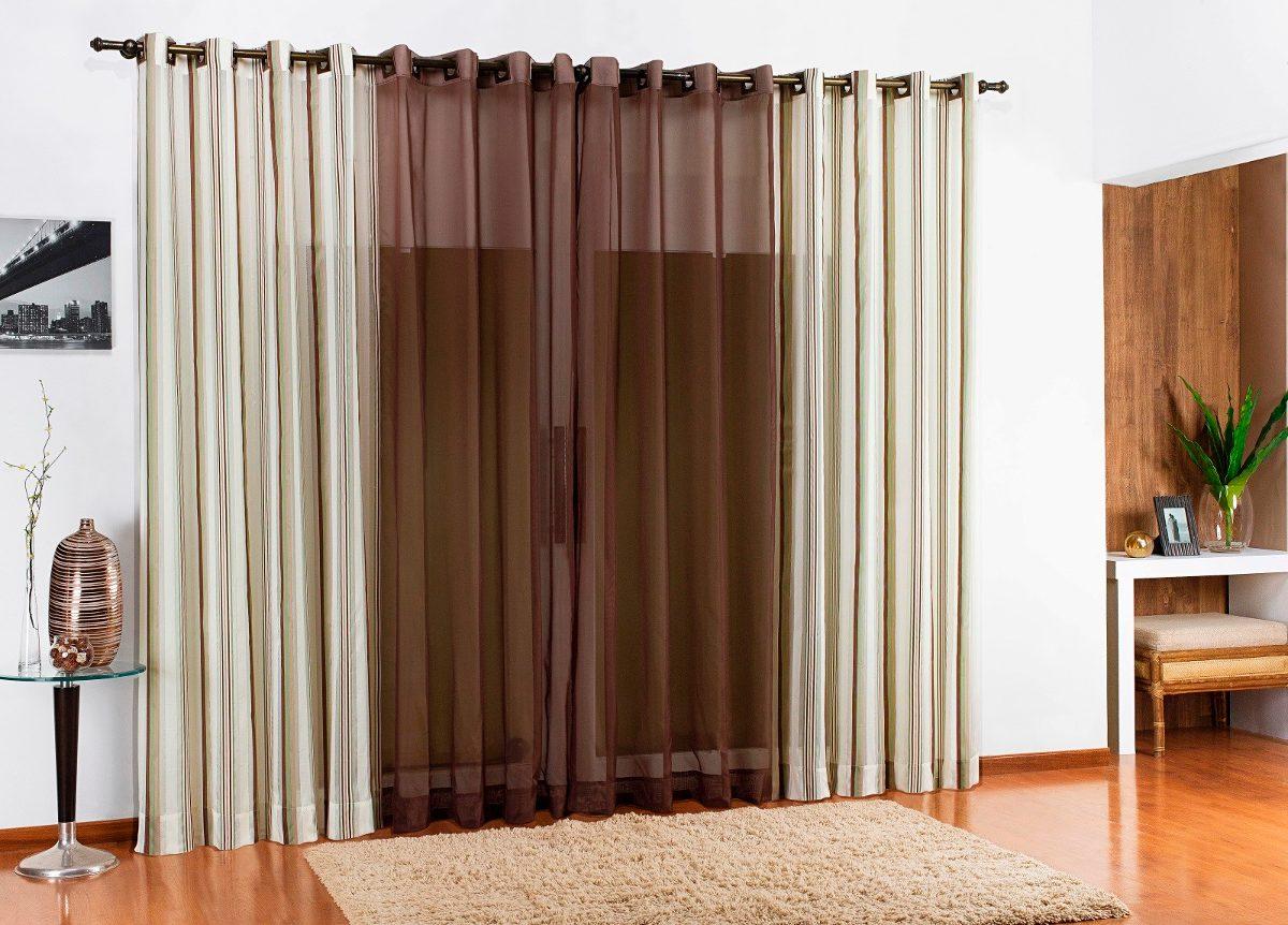 Cortina 3 00x2 80 sala e quarto tecido rustico voil tabaco - Estor con cortina ...
