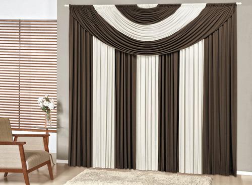 cortina 4,00x2,50 p/ varão de quarto ou sala - frete grátis
