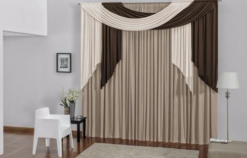 cortina alana para sala ou quarto avelã 3,00 x 2, 80