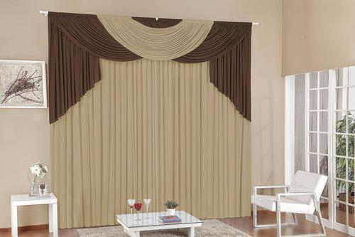 cortina amilca para quarto e sala 3,00x2,60 avelã