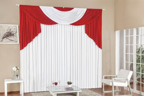 cortina amilca para quarto e sala 3,00x2,60 vermelho