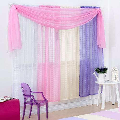 cortina arco íris 2 mt p/ quarto de meninas em voil colorido