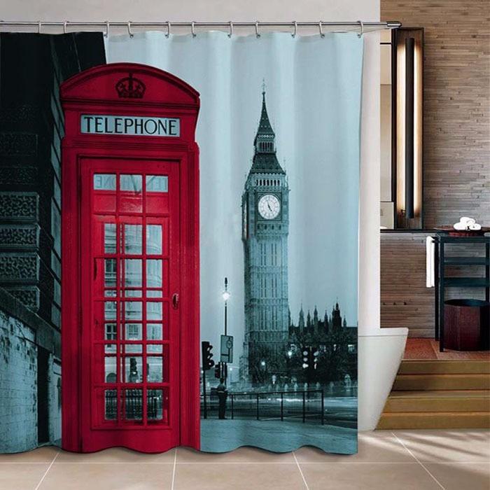 Cortina Baño Diseño Cabina Teléfono Londres 180x180 Cm - $ 18.500 en ...