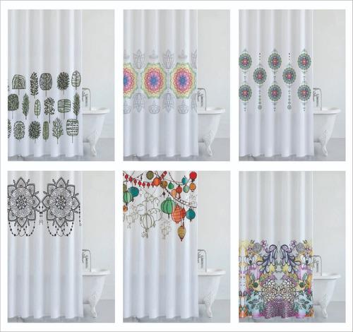 cortina  baño premium - tela antihongos 100% poliester