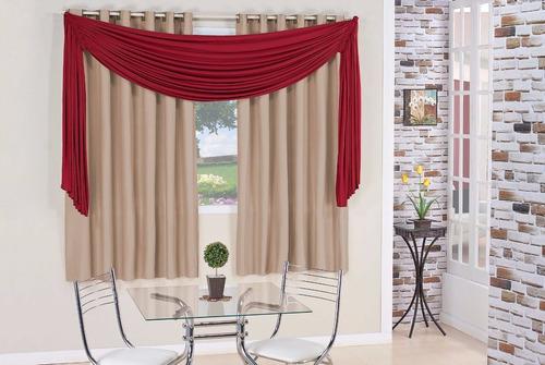 cortina barata natália charme 2,00 x 1,70 vermelho e avelã