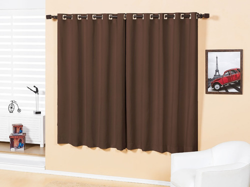 cortina basic 2,00m x 1,80 para varão simples 100% poliéster
