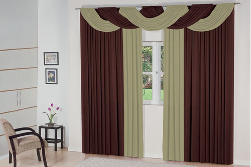 cortina bella tabaco c/ avelã quarto sala 6,00x2,80 p/ varão