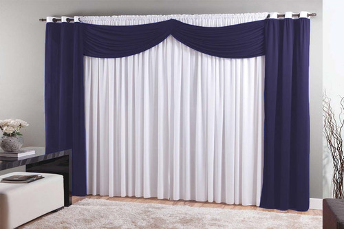 cortina berlim roxo/branco 3,x2,80 varão simples aproveite