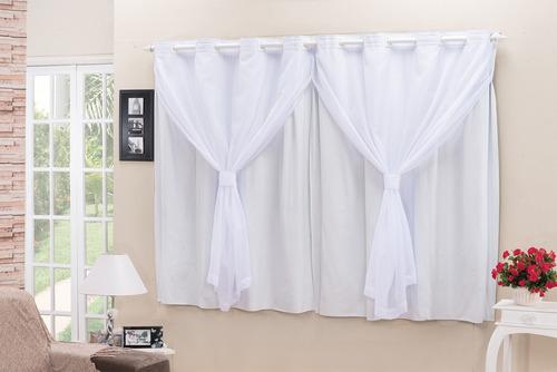 cortina blackout blecaute quarto infantil voil 2,80m branca