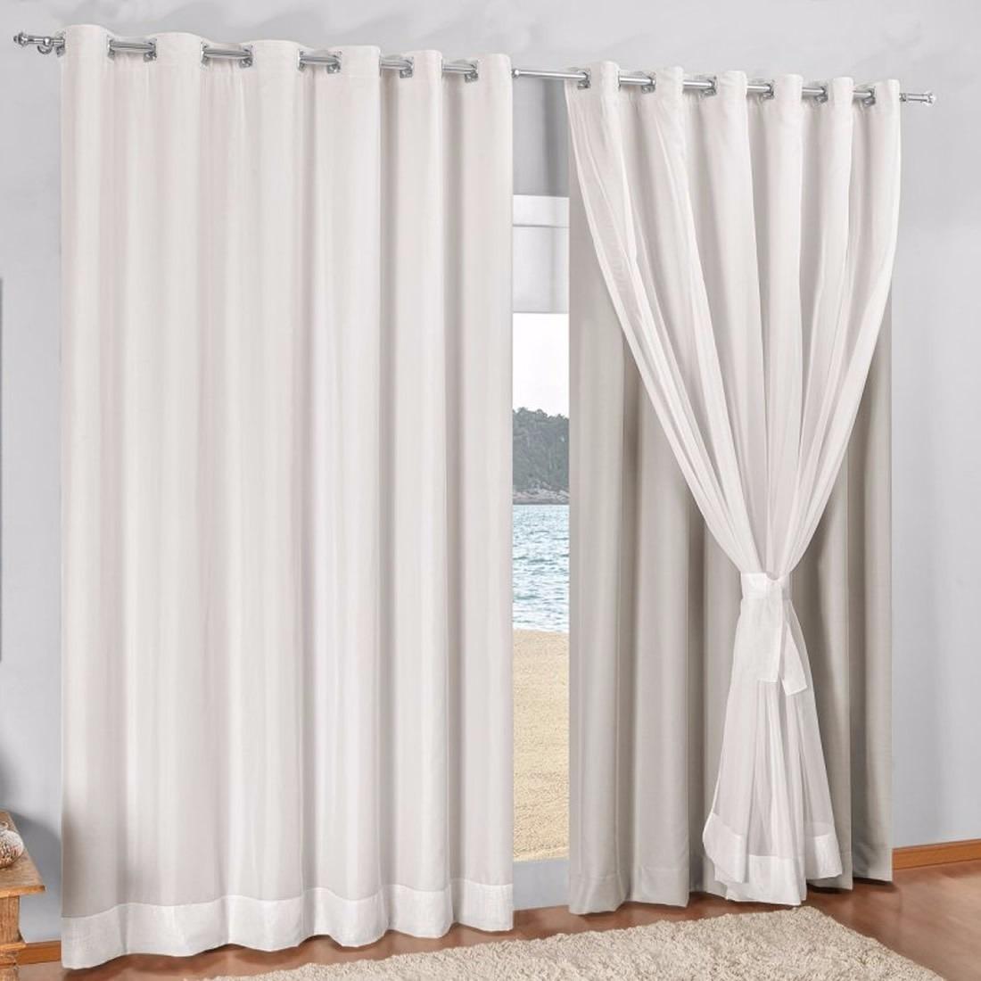 cortina para sala com blecaute com voil