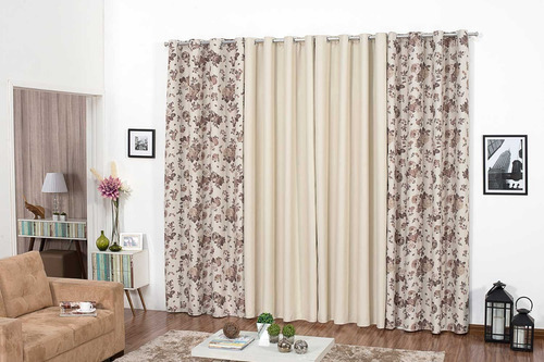 cortina blackout de 6 metros estampada p sala ou escritorio