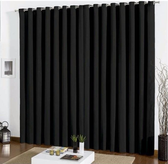 Cortina blackout em tecido 3 00x2 80 corta luz preta r - Cortinas para casa de campo ...