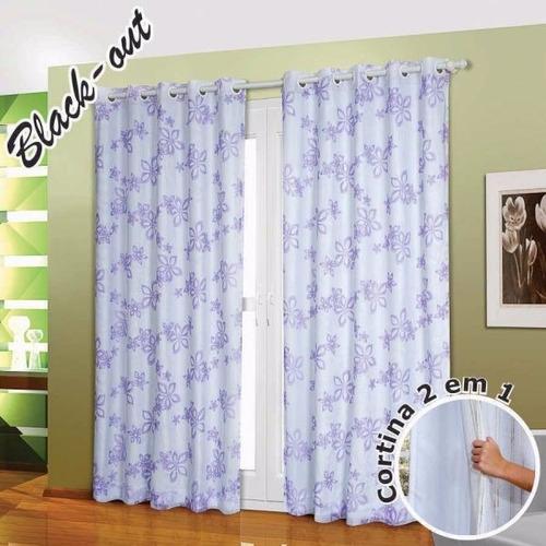 cortina blackout estampada c/voil varias cores 2,00m x 1,80m