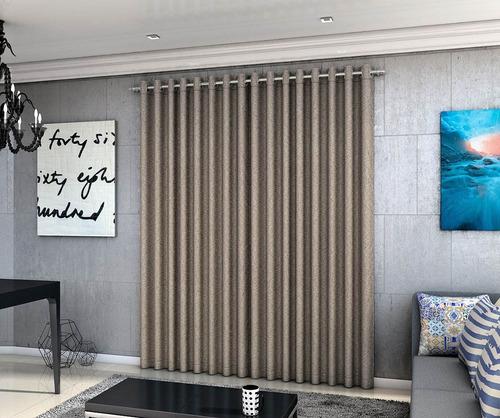 cortina blackout linho quarto sala 4,00mx2,50m marrom adomes