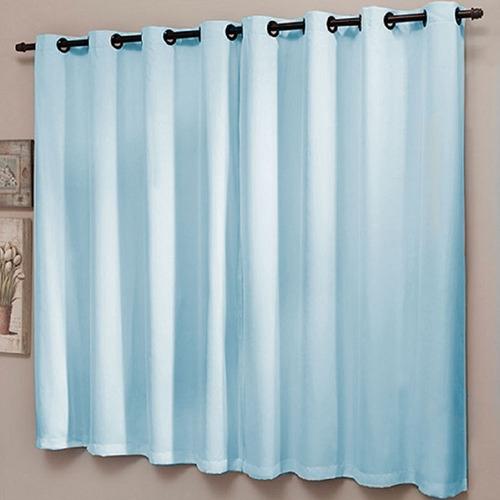 cortina blackout liso pvc com voal 200 x 180 cm azul sultan