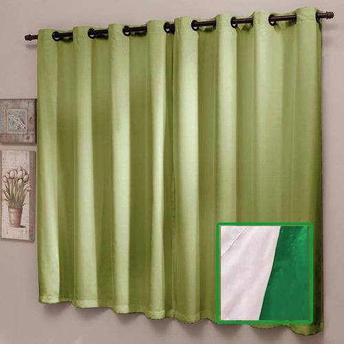 cortina blackout liso pvc com voal 200 x 180 cm verde sultan