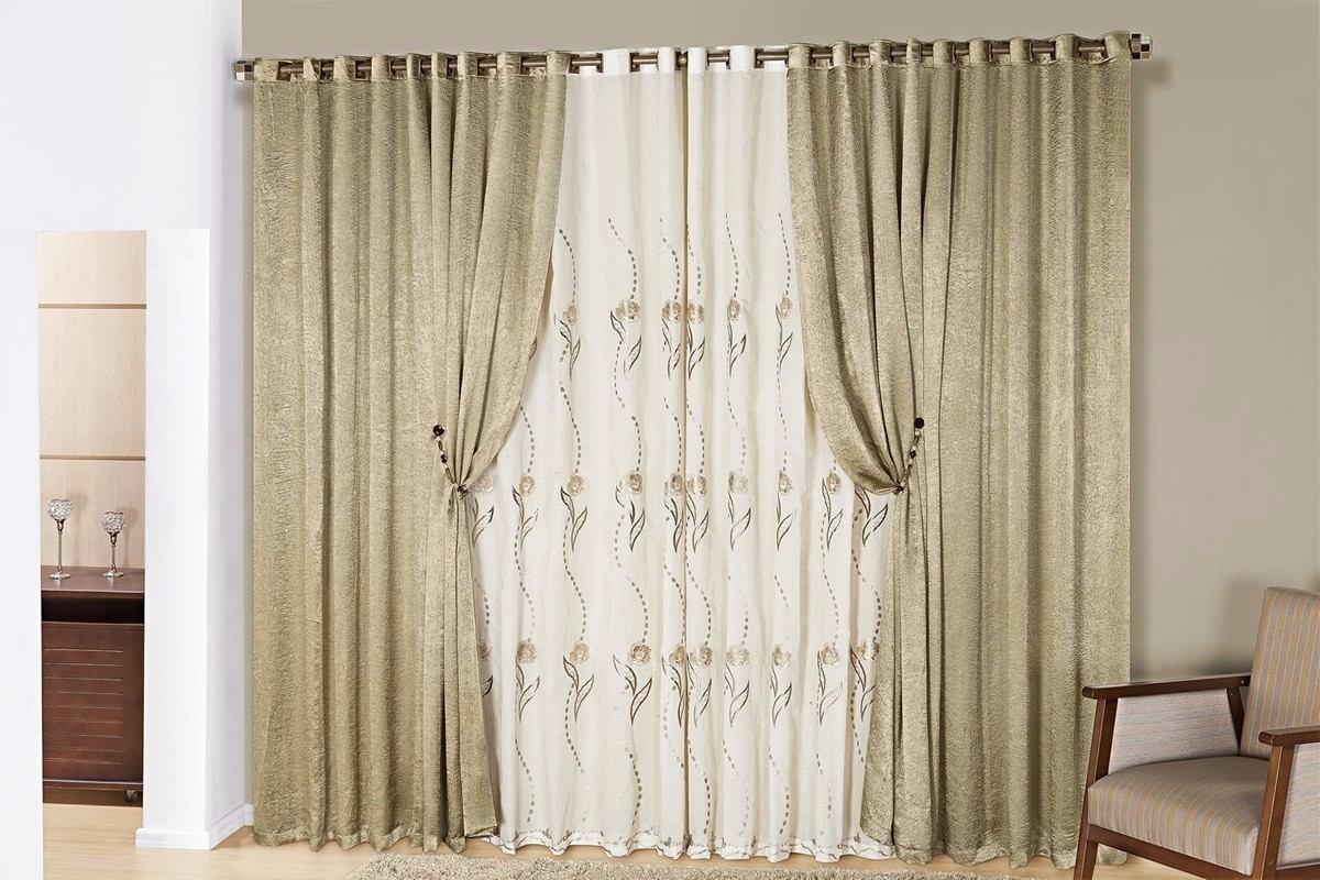 Cortina bordada sala sofisticata 3 metros for Modelos de cortinas para salas