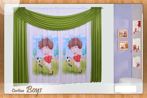 cortina boys infantil estampada de 1,80alt. x 2,00larg.