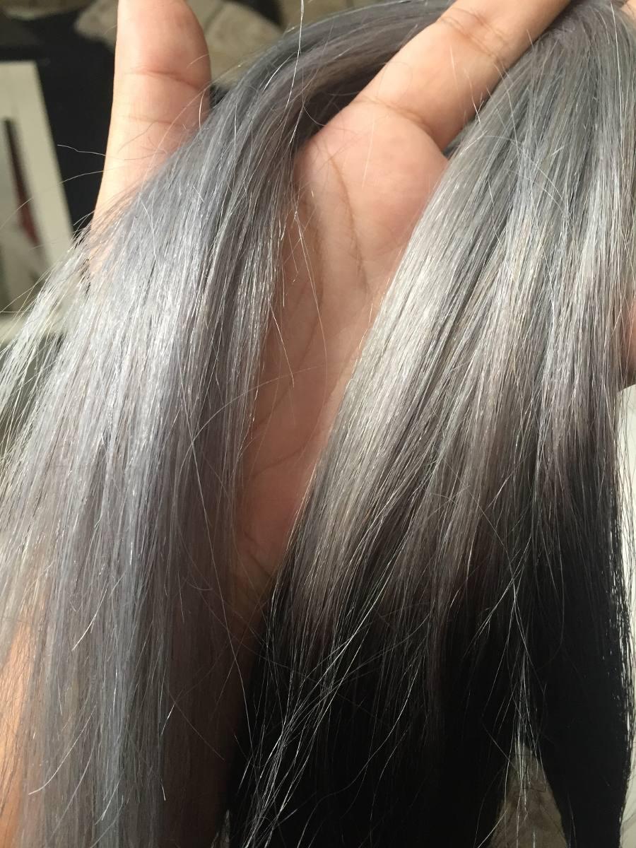 Extensiones 1 cortina de cabello gris plata 100 humano 20 for Cortinas gris plata