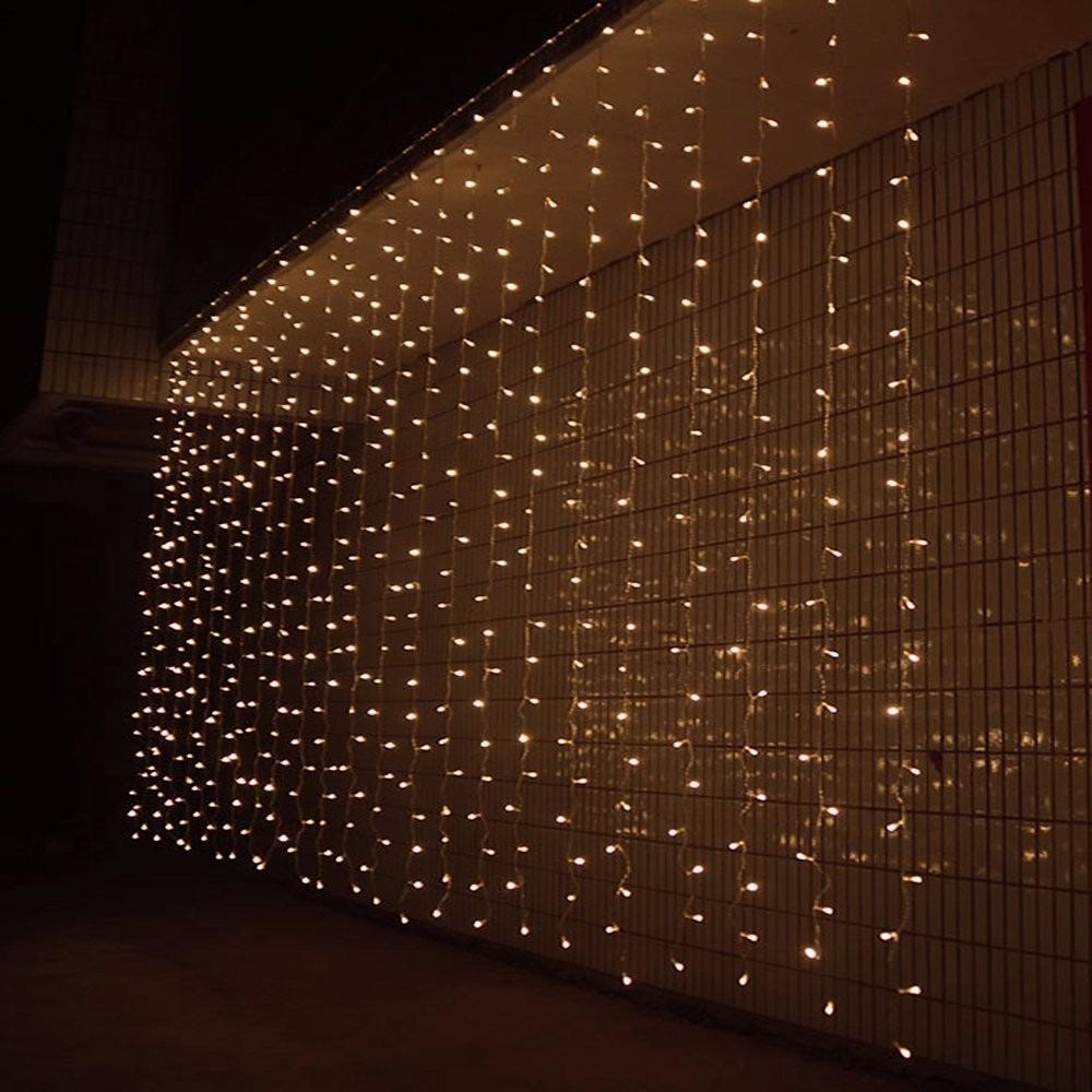Cortina cascada de luces 300 leds 3x3m blanca for Cortina de luces