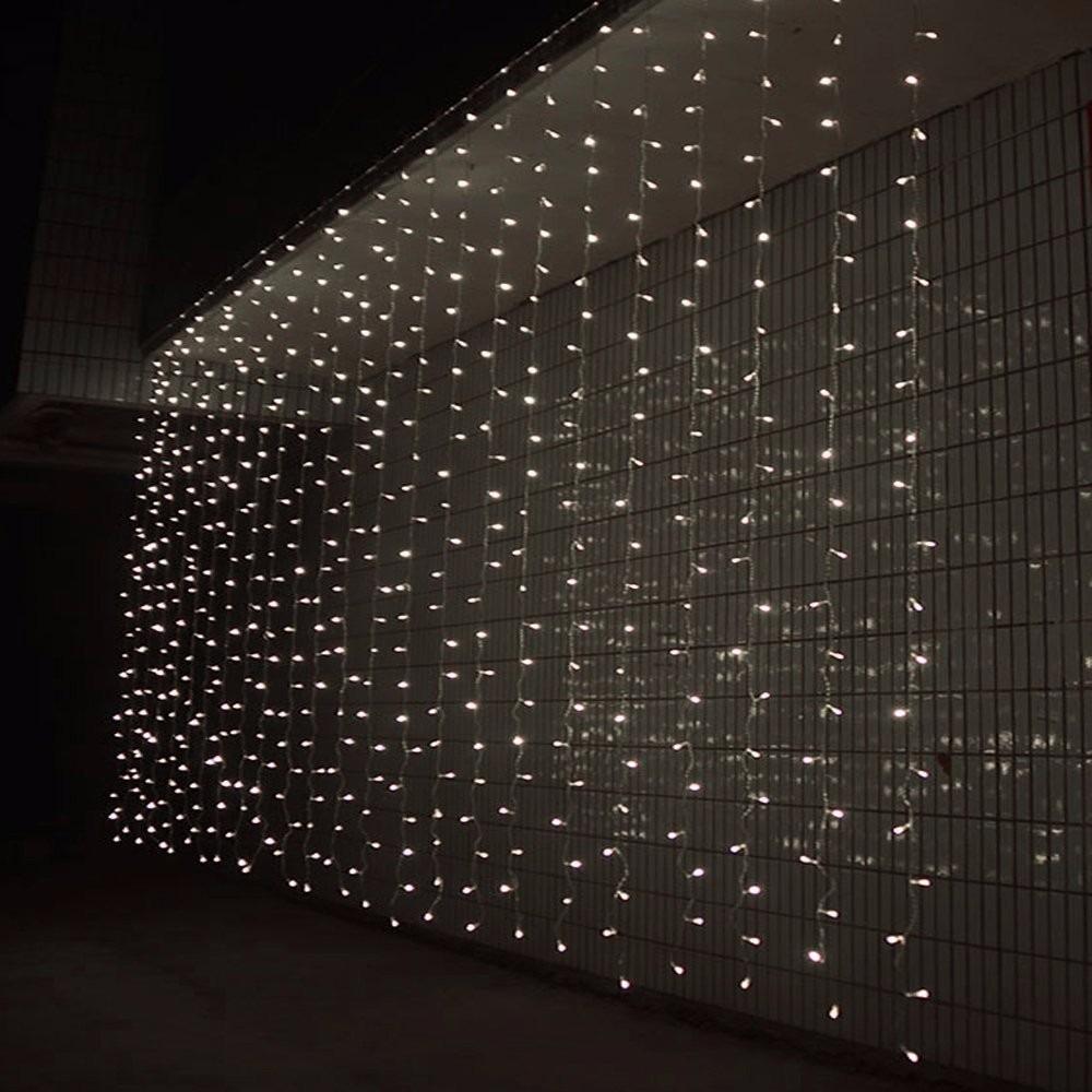 Cortina cascada de luces 300 leds 3x3m blanca for Cortina de luces led