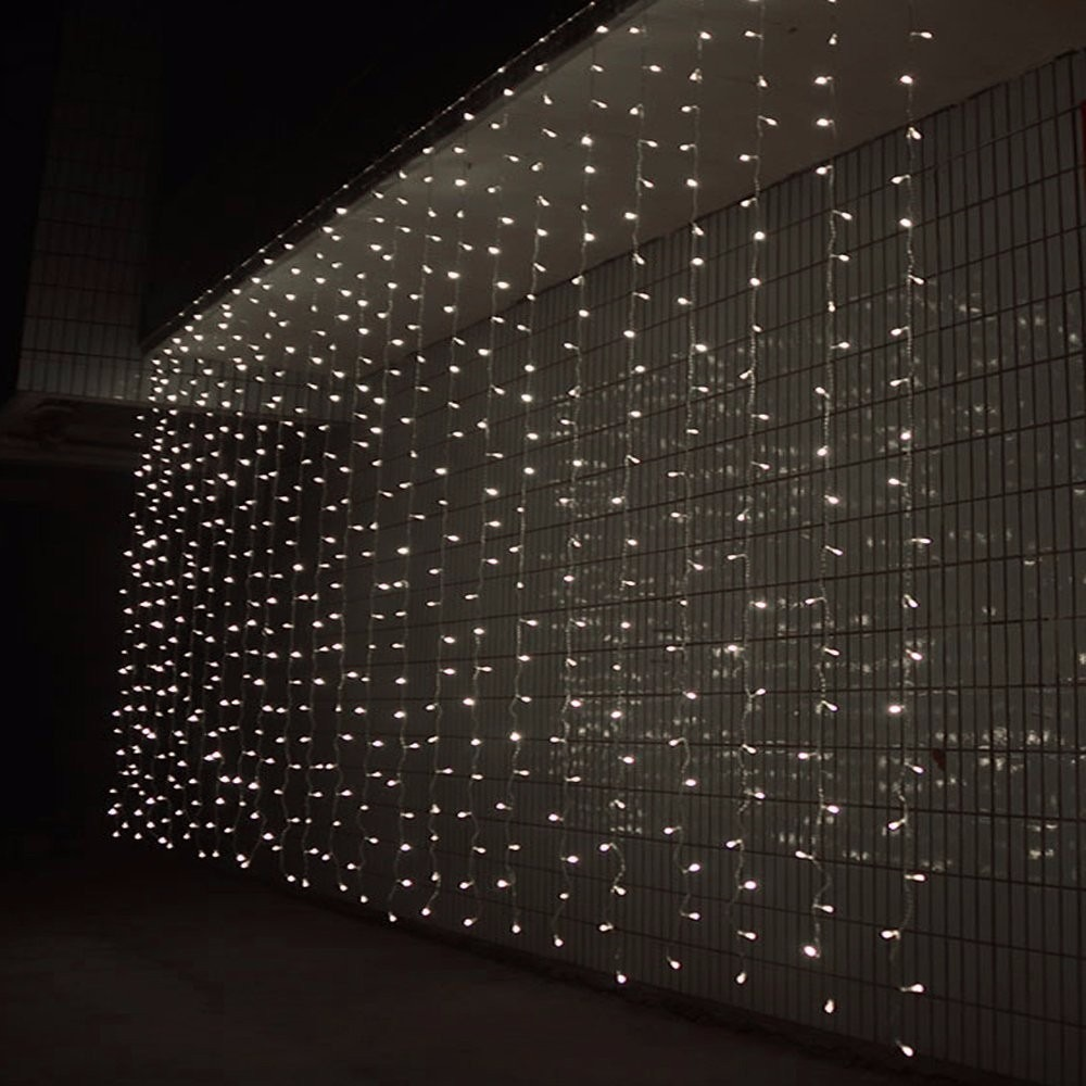 Cortina cascada de luces 3x3m blanca calida for Cortinas con luces