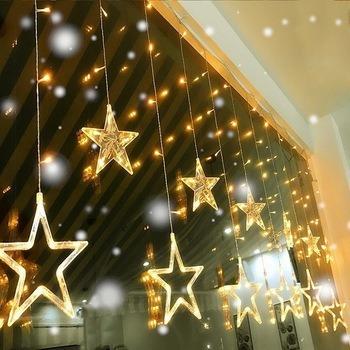 cortina cascada luces led estrella 3x0.8m 220v calido navida