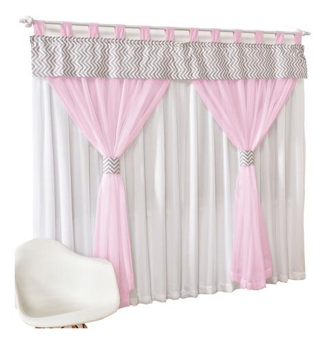 cortina chevron quarto infantil bebê 2mts x 1,70mts