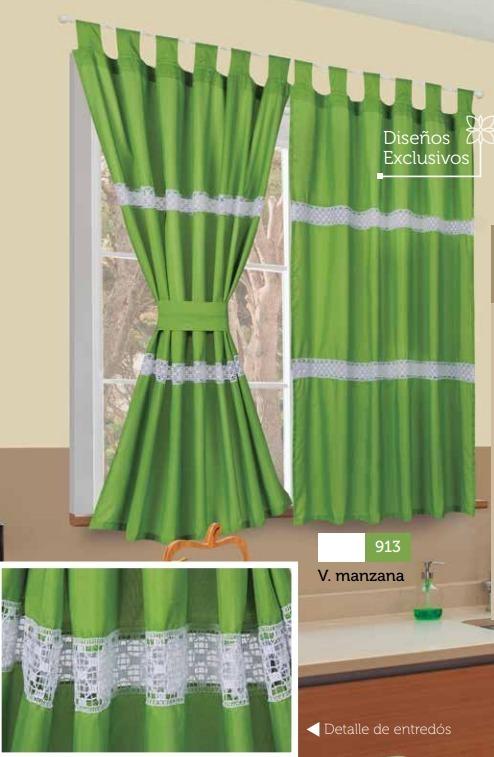 Cortina Cocina Verde Manzana Y Blanco Entredos Excelente 1 390