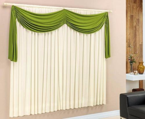 cortina com bandô várias cores varão 2,00x1,70 sala quarto