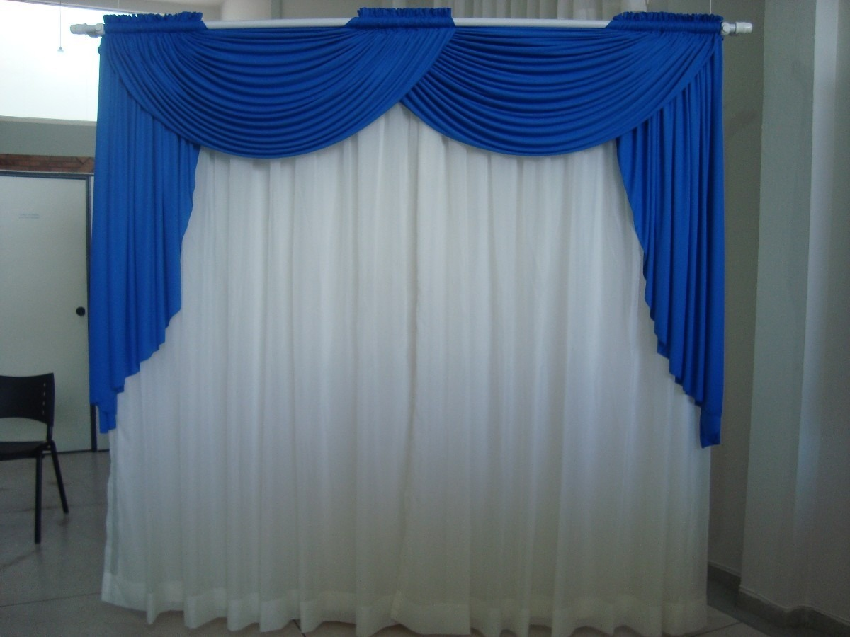 Cortina com bando voil e forro r 39 90 em mercado livre for Ganchos de plastico para cortinas