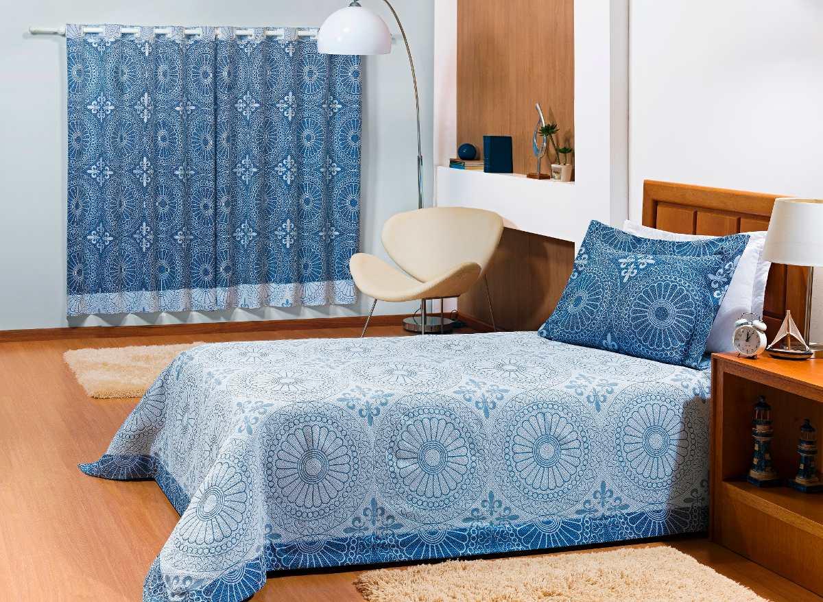 Cortina Com Kit Cobre Leito Masculino Quarto Azul Solteiro R  ~ Quarto Masculino Solteiro Simples