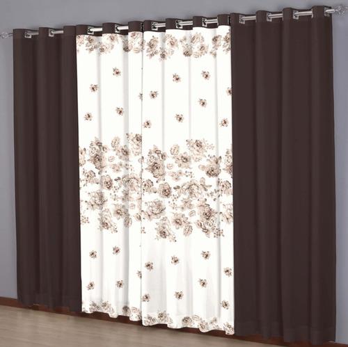 cortina combinada horto 3,00m x 2,50m chocolate