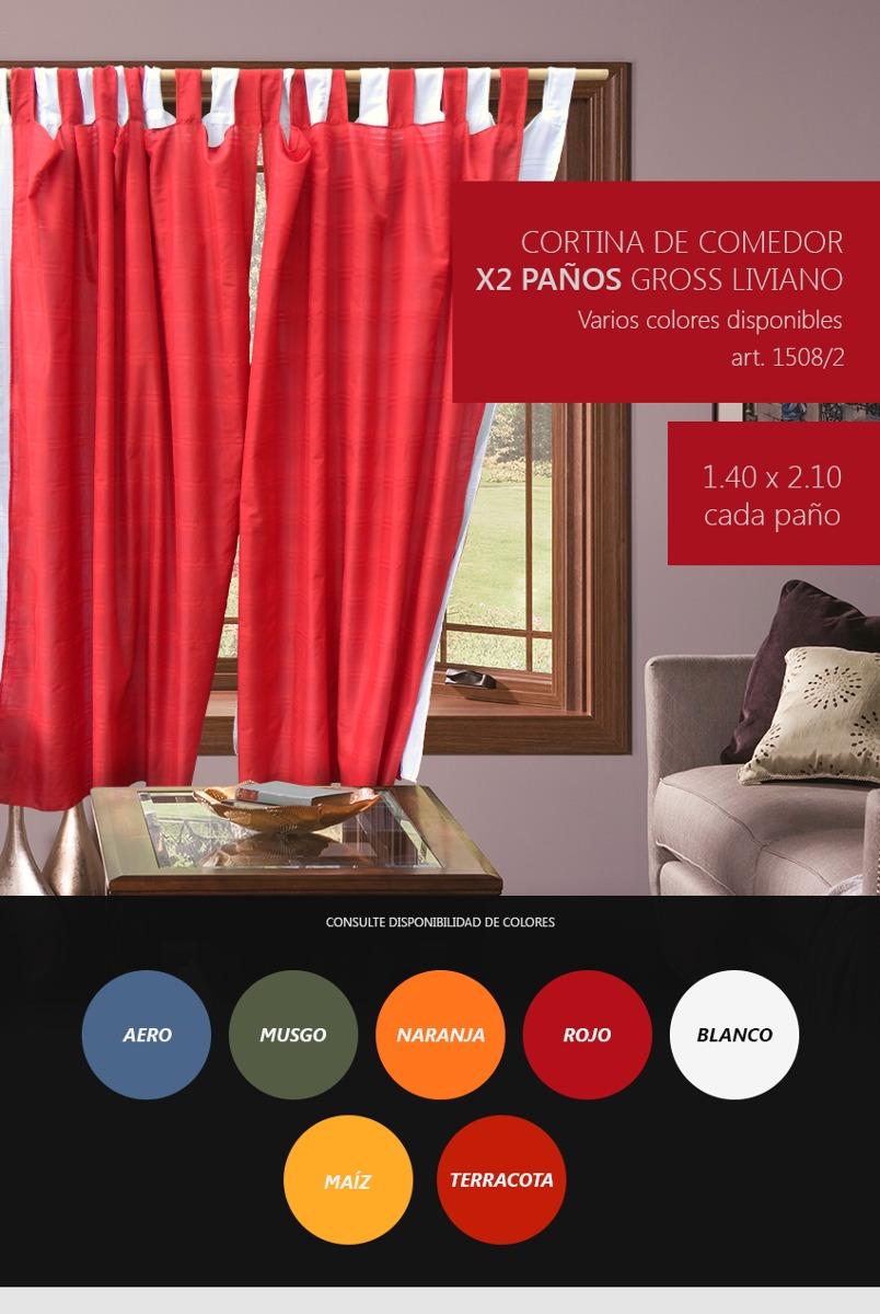 Cortina Comedor/dormitorio/living 2 Paños Gross Liviano - $ 399,99 ...