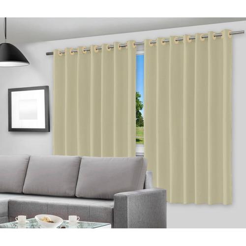 cortina corta luz blackout c/ ilhós 4,00m x 3,00m bege pvc