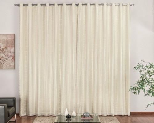 cortina corta luz c/ voil xadrez 3 metros cor palha