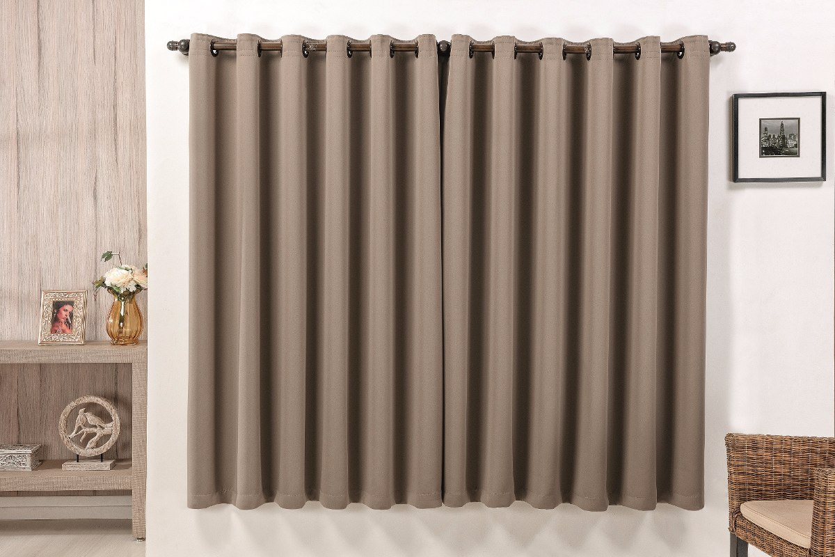 Cortina corta luz tecido blackout 2m marrom sala ou - Tipos de cortinas y estores ...