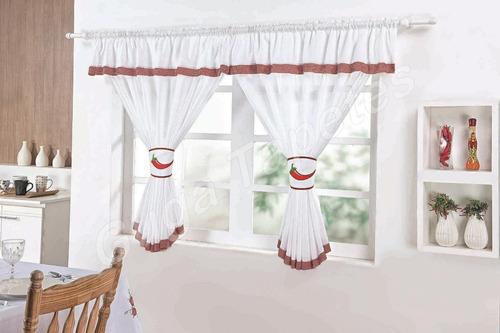cortina cozinha 2 metros pimenta palha branca janela nova