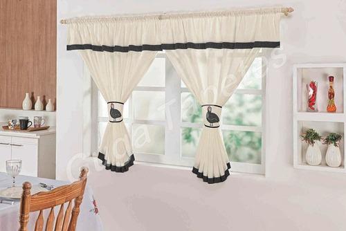cortina cozinha 2,00m x 1,70m galinha angola decorativa leve