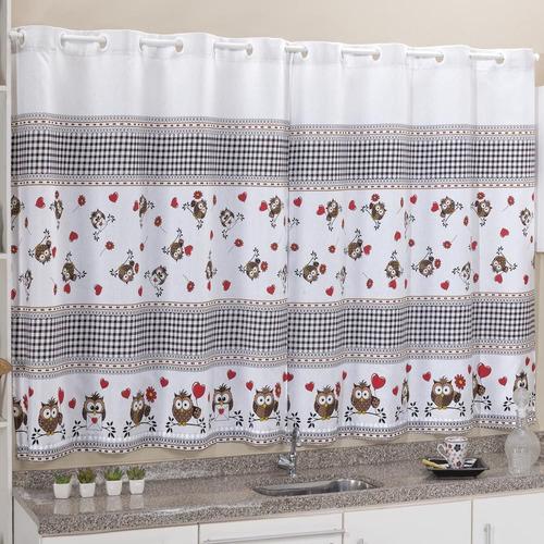 cortina cozinha cook 2,40m x 1,40m para varão estampado
