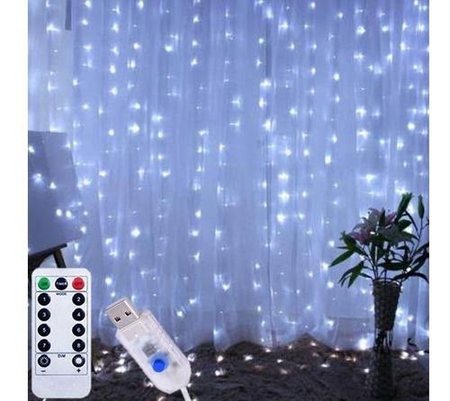 cortina de 300 led blanco frio control modos de luz 3x3m