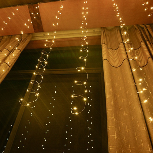 cortina de 300 led vintage calido 3x3 mts linea de cobre